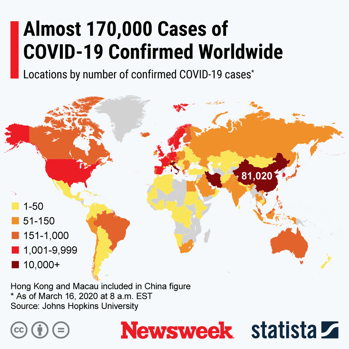 COVID cases around the world - map and stats by Newsweek and Statista